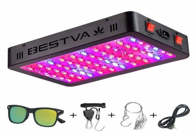 BESTVA 600W LED Grow Light Full Spectrum Dual-Chip Growing Lamp for Hydroponic Indoor Plants Veg and Flower