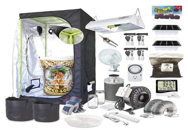 Complete 5 5 Grow Tent Kit w 1000W HPS 4 4 Flood Drain Hydroponics System from Goldleaf Hydroponics