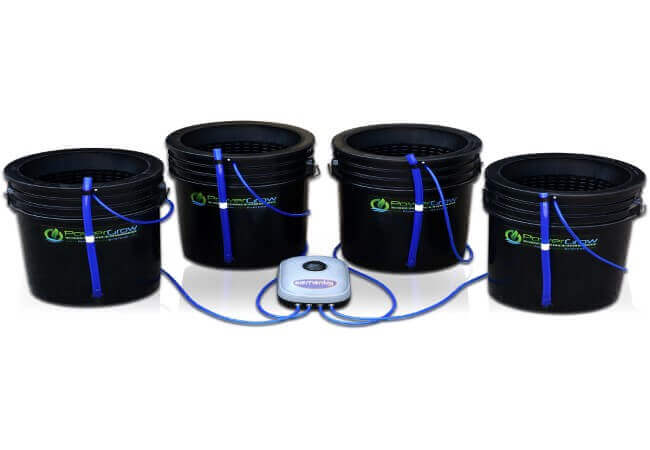 Deep Water Culture (DWC) Hydroponic Bubbler Bucket Kit by PowerGrow ® Systems (4) 5 Gallon - 10 Buckets