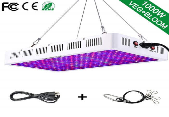 GROWSTAR 1000W LED Plant Light, Optical Lens 12-Band Full Spectrum Plants Veg and Bloom Switch Grow Lights for Indoor Plants Garden Greenhouse Hydroponic