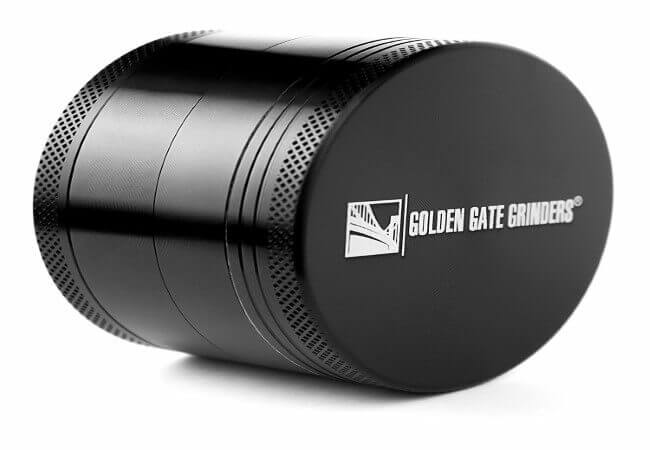 Golden Gate Grinders #1 Best Herb Grinder 2.5 Inch 4-piece Anodized Aluminum with Pollen Catcher - Large Black