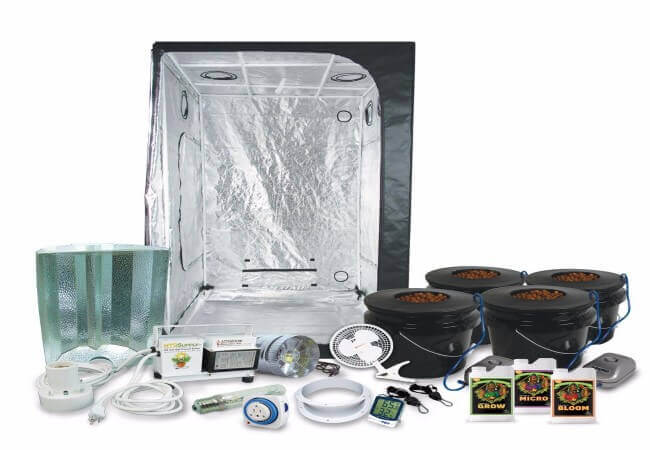 HTGSupply 3 3 Grow Tent Kit Complete with 400-Watt HPS Grow Light DWC Hydroponic System & Advanced Nutrients