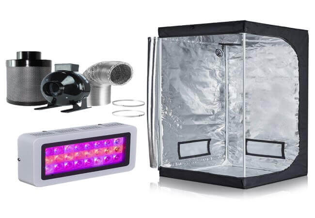 Hongruilite 300w 600w LED Grow Light 600D Mylar Grow Tent Inline Fan Carbon Air Filter Ducting Combo for Hydroponic Indoor Plant Growing System