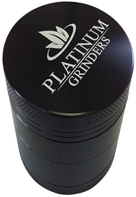 Platinum Grinders Herb Grinder with Pollen Catcher - Large 2.5 Inch 4 Piece, Black Aluminum