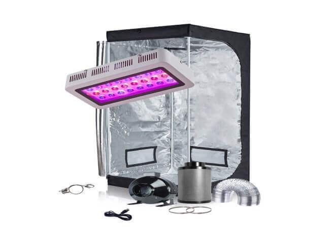 TopoGrow LED Grow Tent Complete Kit LED 300W Grow Light Kit Panel Lamp Full-Spectrum Indoor Grow Tent Package 4 Fan&Filter&Ducting Combo