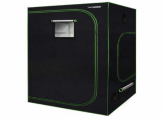 VIVOSUN 48x48x80 Mylar Hydroponic Grow Tent with Observation Window and Floor Tray for Indoor Plant Growing 4 x4