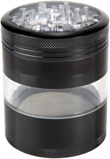 Zip Grinders ZG-00011 Four Piece with Pollen Catcher Large Herb Grinder, 3.25 Inches, Black