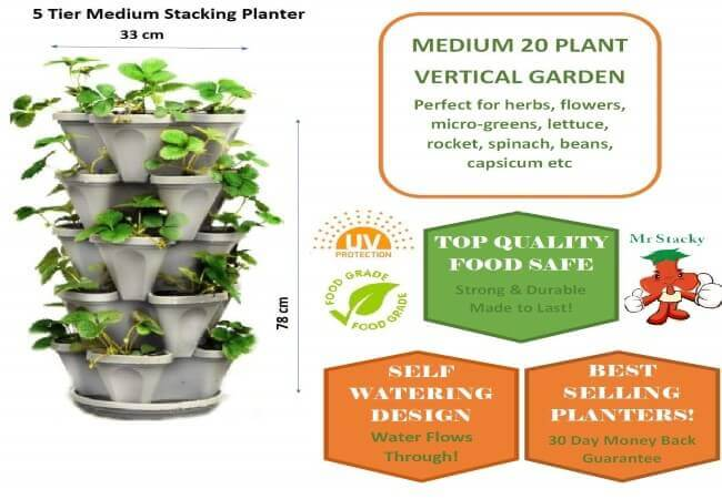 5 Tier Stackable Strawberry, Herb, Flower, and Vegetable Planter - Vertical Garden Indoor Outdoor
