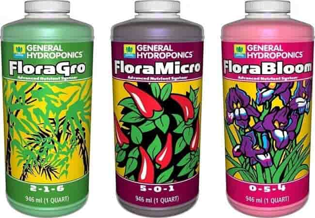General Hydroponics Flora Grow, Bloom, Micro Combo Fertilizer set, 1 Quart